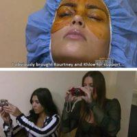 """2. Kim dice: """"Me iba a hacer un facial. Obviamente traje a Kourtney y Khloe para apoyarme"""". Claro, tomándole fotos. Foto:E!"""