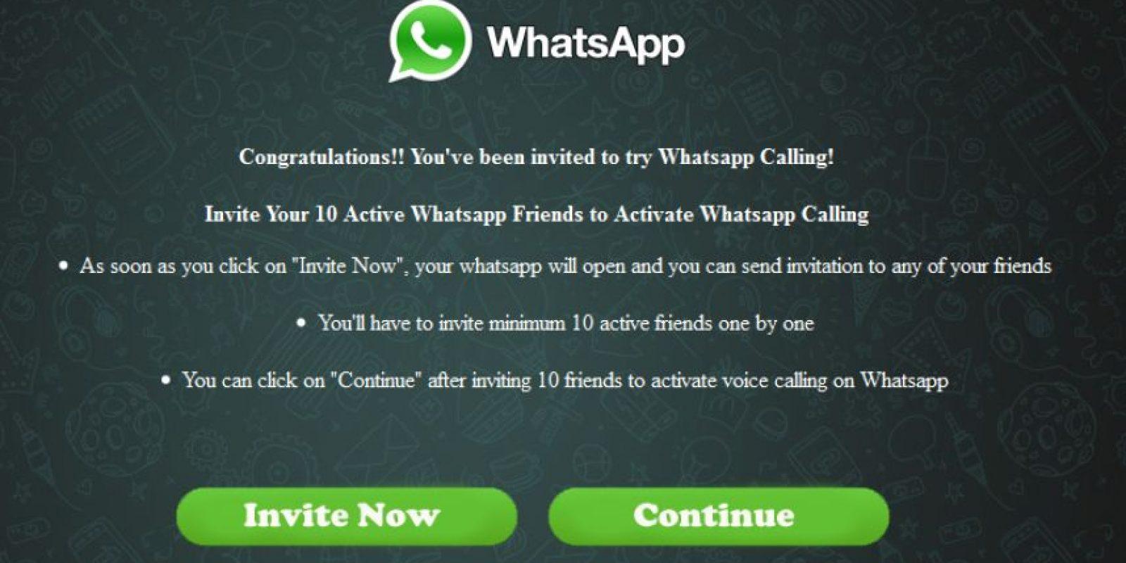 Este es el mensaje de bienvenida con el que muchos han caído por la urgencia de activar las llamadas gratuitas de WhatsApp. Foto:whatsapp-scam