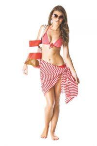 Tríangulo invertido: Hombros anchos y cintura estrecha Le recomendamos que busque un bikini con la parte de abajo que destaque las caderas. Si usa una calzoneta, utilice estampados grandes. Su busto y espalda deben lucir lo más discreto posible, puede utilizar tonos lisos o bloques de color.
