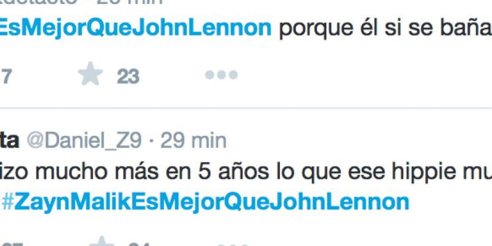 En Twitter algunos se toman en serio eso de que Zayn Malik es mejor que el legendario John Lennon por razones tan absurdas como su pelo, su asesinato o el tamaño de las nalgas de su mujer, Yoko Ono. Otros si reaccionan con furia. Otros creen que es una broma. Foto:Twitter
