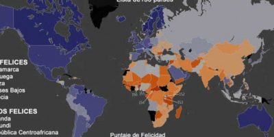 En este mapa se muestra los primeros cinco lugares de los países más felices del mundo y Colombia no está.