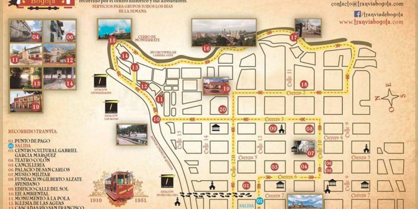 Este es el recorrido que realiza el Tranvía en el centro de Bogotá.