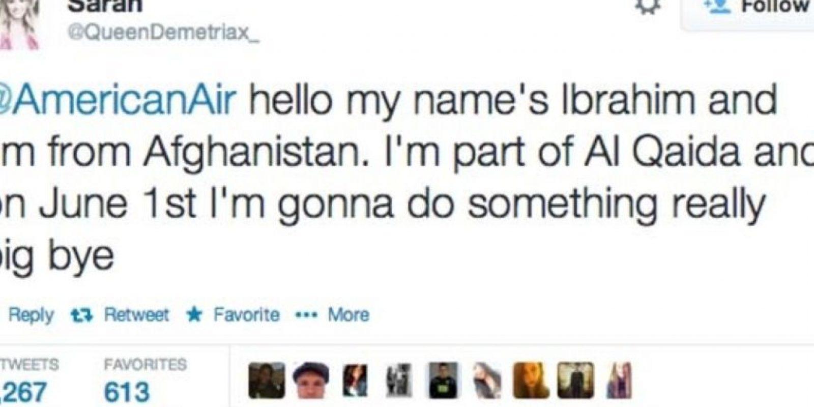 De adolescente llegas a amenazar aerolíneas. Foto:Twitter