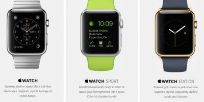 En su presentación, se anunciaron tres distintos modelos: Apple Watch, Apple Watch Sport y Apple Watch Edition Foto: Apple