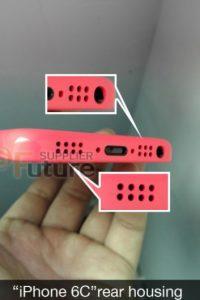 Los altavoces del iPhone 6C con más orificios. Foto:futuresupplier.com