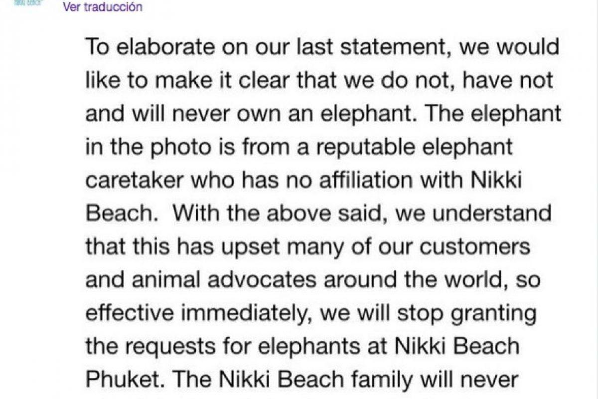 Aquí el comunicado. Foto:Vía Twitter: @ NikkiBeachWorld