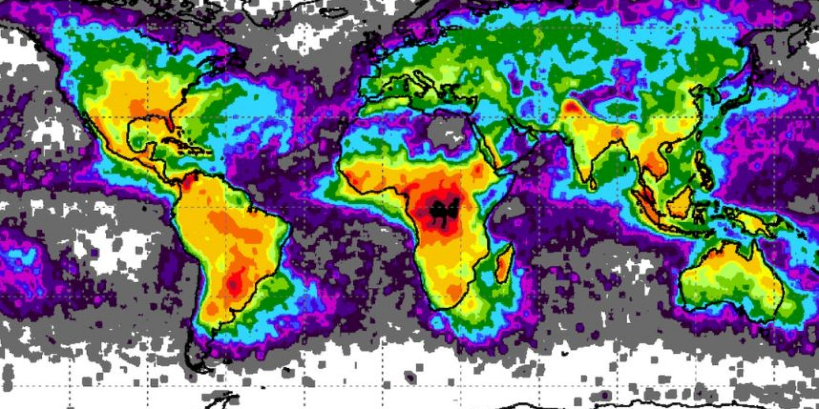 Los ataques de los rayos tomados por el satélite OrbView/Microlab de la NASA Foto:Vía página web Earth Observatory