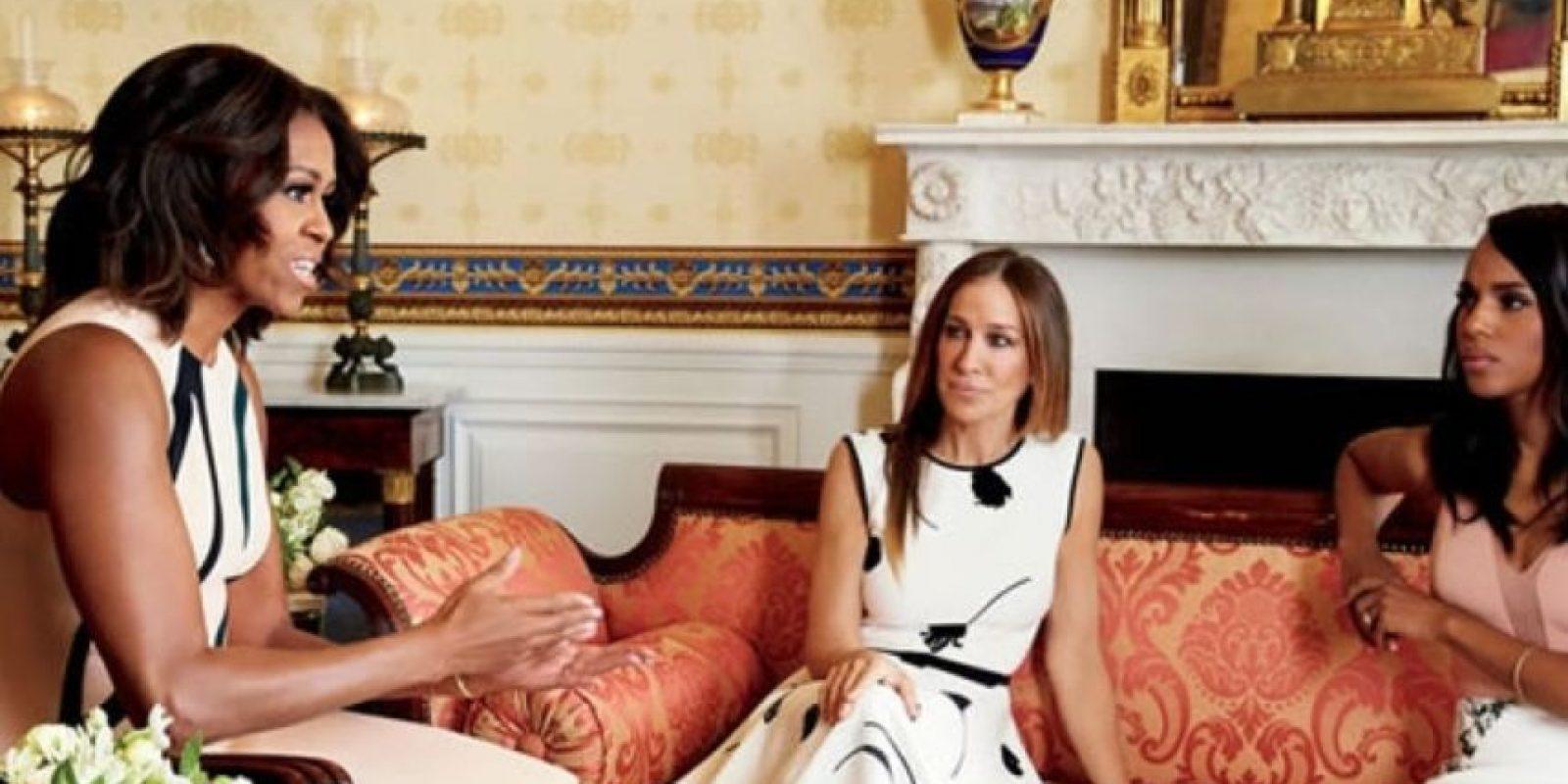 Michelle Obama (izquierda), Sarah Jessica Parker y Kerry Washington en la Casa Blanca Foto:Vía Glamour.com