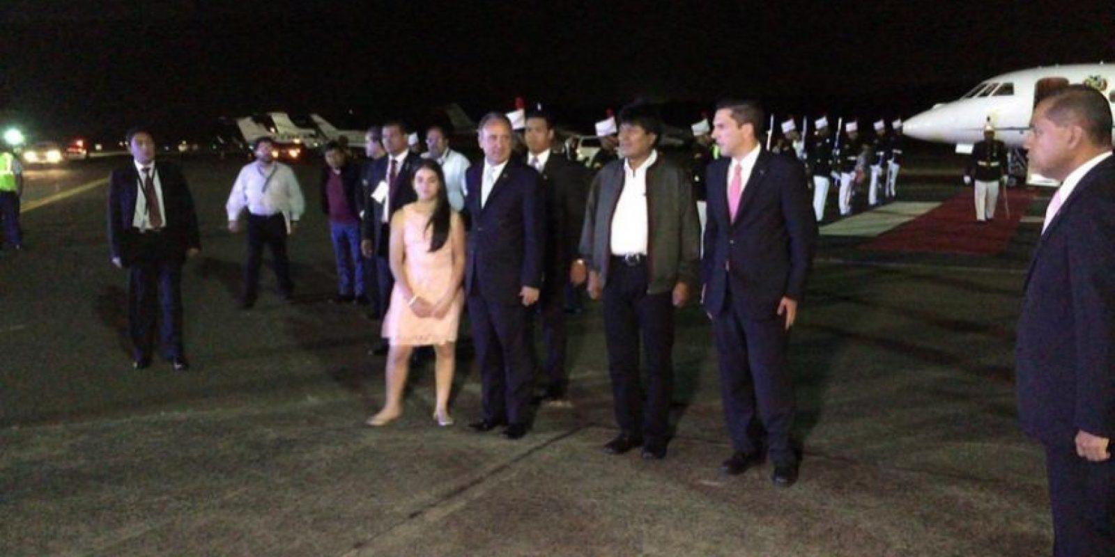 El arribo a Ciudad de Panamá del presidente de Bolivia, Evo Morales, Foto:vía twitter @CumbrePanama