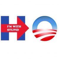 """""""Estoy con un estúpido"""", junto al logotipo que usó Barack Obama en su campaña presidencial Foto:Instagram.com/firearmsradionetwork"""