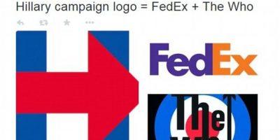 """""""El logo de la campaña de Hillary es igual al de FedEx más The Who"""" Foto:Twitter.com/Kiustout"""