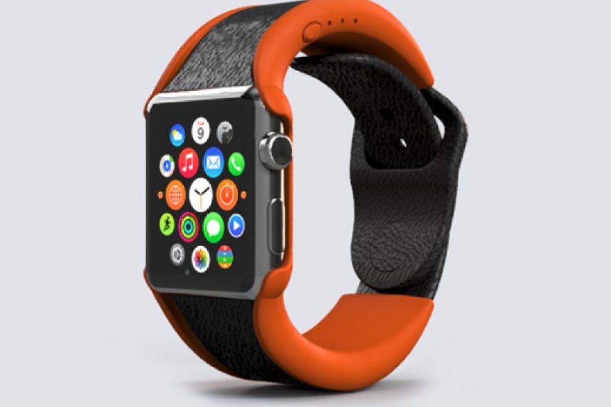 Así se vería con un Apple Watch. Foto:wiPowerBand, Inc.