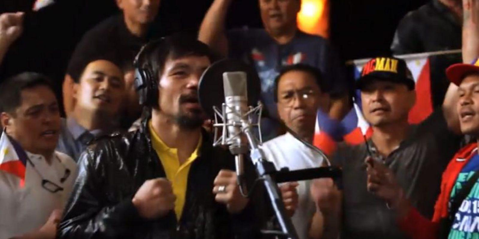 """""""Lalaban Ako Para Sa Filipino"""" es el título de la canción grabada por el boxeador, está en filipino, pero su nombre en español es """"Lucharé por los filipinos"""". Foto:Vía facebook.com/MannyPacquiao"""