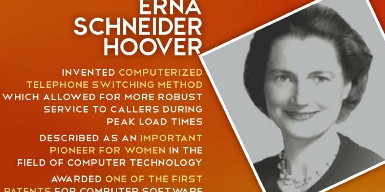 Erna Schneider Hoover. Creó un sistema automatizado de conmutación telefónica, en la que una computadora gestionaba las llamadas entrantes y las ajustaba automáticamente la aceptación de la llamada, evitando así la sobrecarga. Esto derivó significativo avance en las telecomunicaciones, el diseño de Erna aún es usado en la actualidad. Foto:Twitter