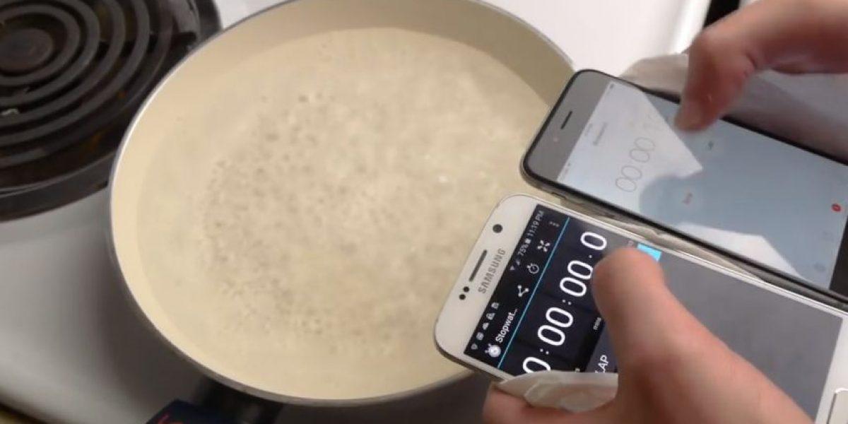 VIDEO: Esto pasa cuando ponen en agua hirviendo al Samsung Galaxy S6 y iPhone 6