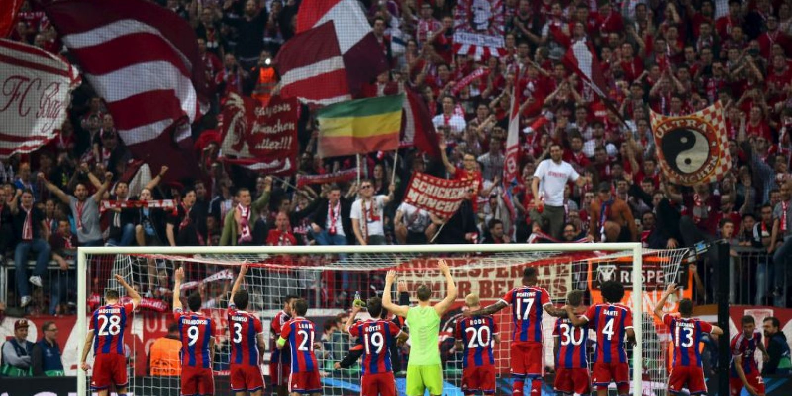 Los goles del Bayern fueron de Thiago Alcántara, Jerome Boateng, Robert Lewandowski (2), Thomas Müller y Xabi Alonso. Foto:Getty Images