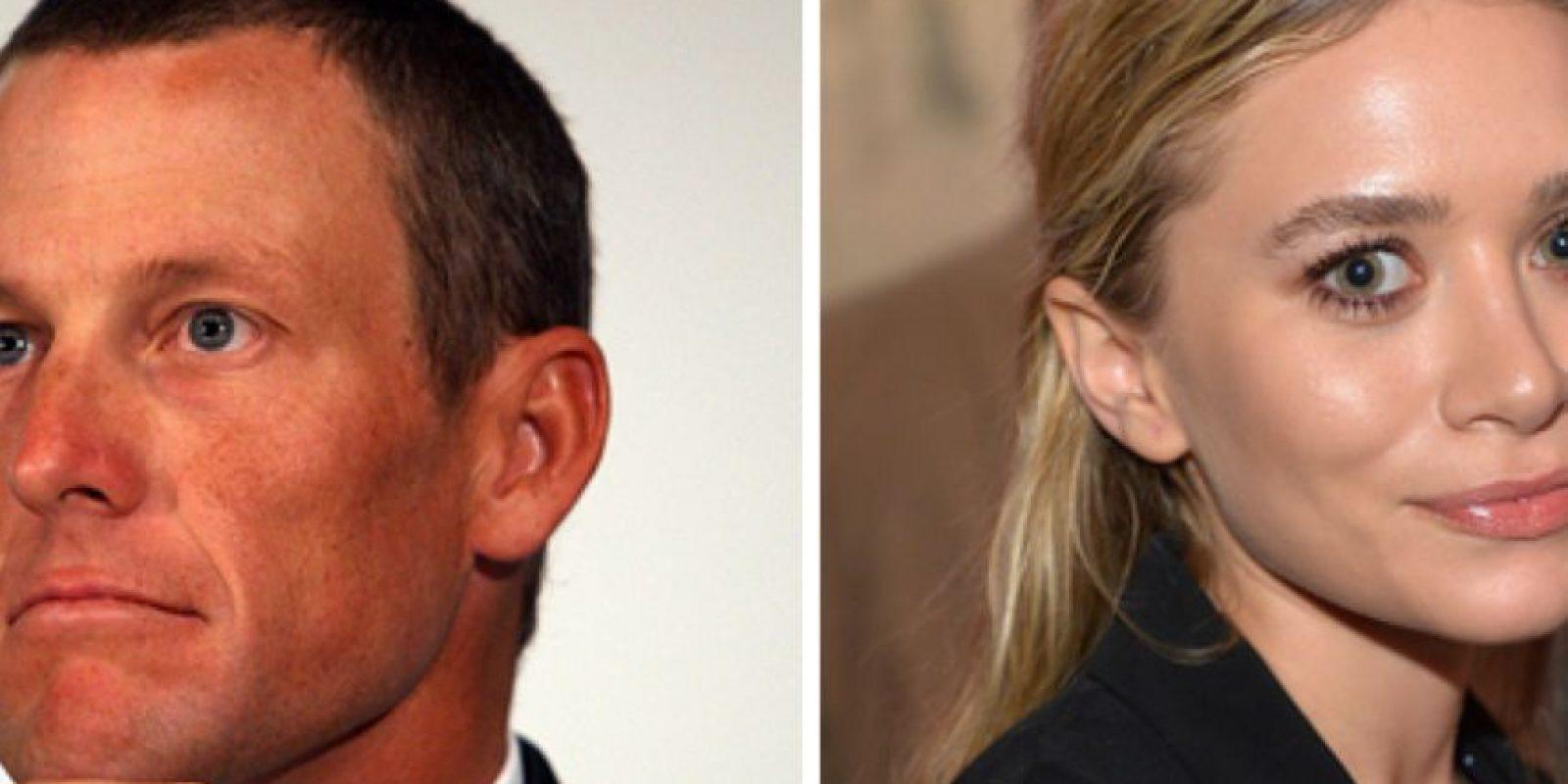 El deportista Lance Armstrong salió en 2007 con Ashley Olsen, pero fue breve. Los vieron saliendo de un hotel en la mañana. Foto:vía Getty Images