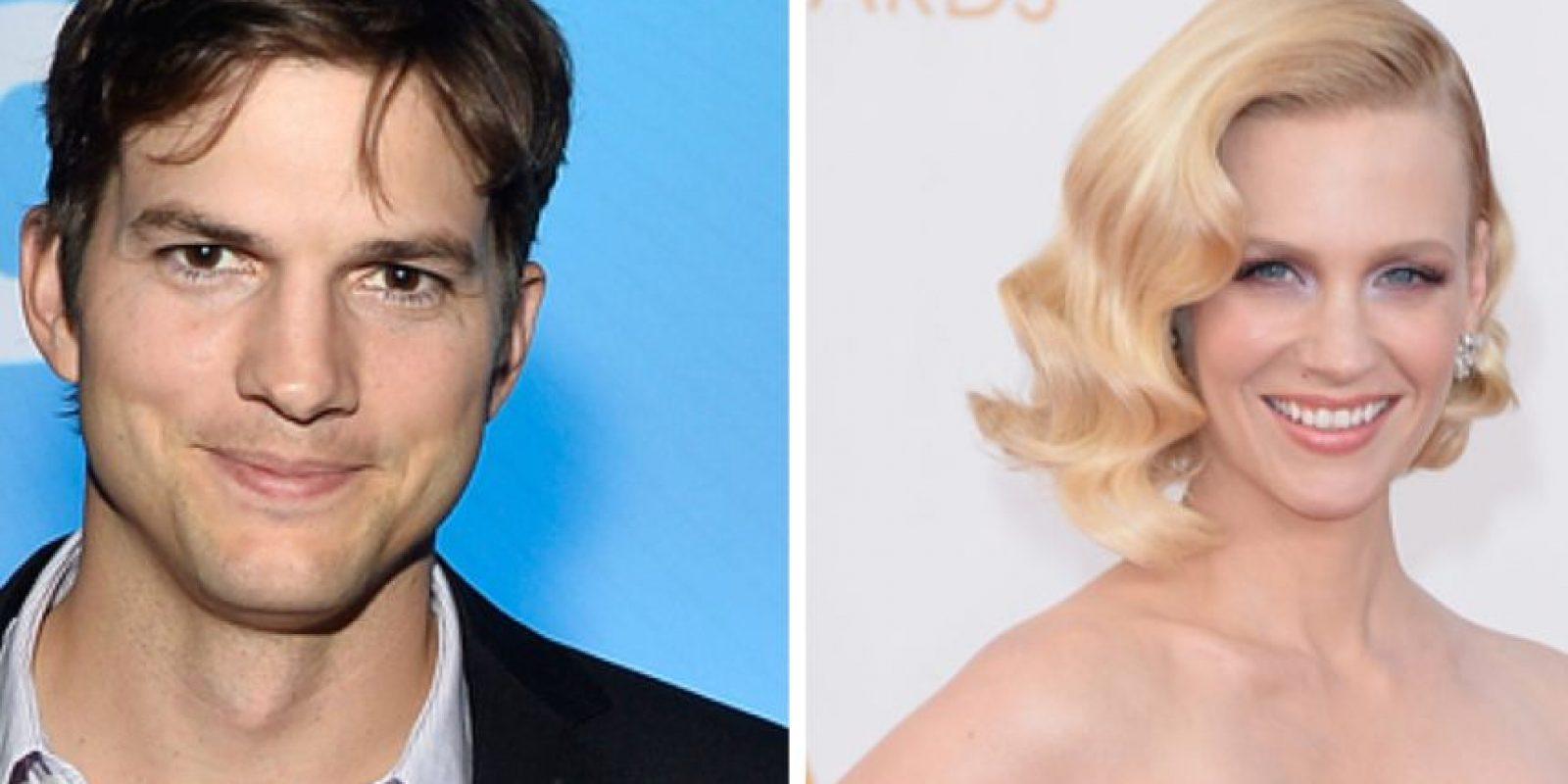 """Ashton Kutcher salió con January Jones, de """"Mad Men"""". Estuvieron juntos de 1998 a 2001, pero él le dijo que no era buena para eso y que desistiera de su carrera. Foto:vía Getty Images"""