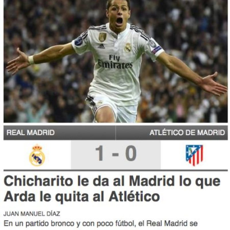 """Y en la web catalana """"Sport"""", elogiaron al mexicano, pero criticaron a Arda Turán quien fue expulsado. Foto:sport.es"""