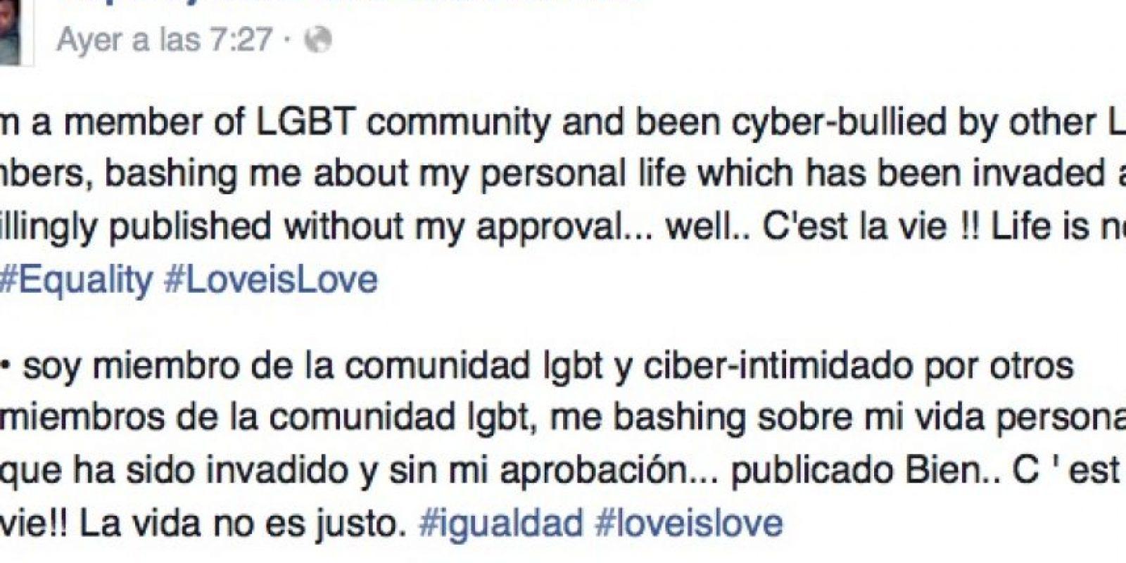 """""""Soy miembro de la comunidad LGBT y he sido intimidado por los mismos miembros debido a mi vida personal (…) La vida no es justa"""". Foto:Vía Facebook/NaparujThorstenOfficial"""