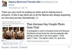 """""""Muchas gracias por publicar nuestra foto y compartir nuestro amor en todo el mundo. Me gustaría dar las gracias a todos los filipinos que han apoyado nuestra historia de amor internacional"""". Foto:Vía Facebook/NaparujThorstenOfficial"""