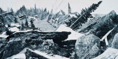 2. 28 de marzo de 1964; Prince William Sound, Alaska: 9.2 fue la magnitud de este sismo que causó deslizamientos de tierra en Anchorage y levantó partes de las islas periféricas de hasta 11 metros Foto:Wikimedia