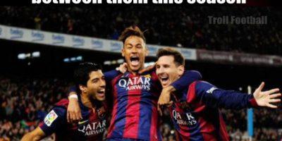 """""""MSN"""" ha marco 100 goles (entre ellos) esta temporada. Foto:Vía Twitter.com/troll_football"""