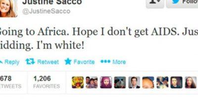 """Justine Sacco y su tuit racista: Justine, estadounidense, lo tenía todo. Un gran sueldo y un cargo en una gran compañía, IAC. El año pasado tuvo que ir a trabajar a África y tuiteó esto: """"Voy a África. Espero no contraer SIDA. Bromeo, soy blanca"""". Buzzfeed lo captó mientras la ejecutiva aún estaba en el avión. Obvio, se hizo viral en cuestión de minutos. Foto:vía Twitter"""