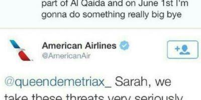 """La pequeña bromista de American Airlines: Sarah es una niña holandesa que no tenía nada mejor que hacer y decidió bromear a lo grande en Twitter. Por eso tuiteó a la aerolinea American Airlines cosas como esta: """"Soy Ibrahim, soy de Afganistán, y el 1 de junio les haré algo grande"""", afirmó. Foto:vía Twitter"""