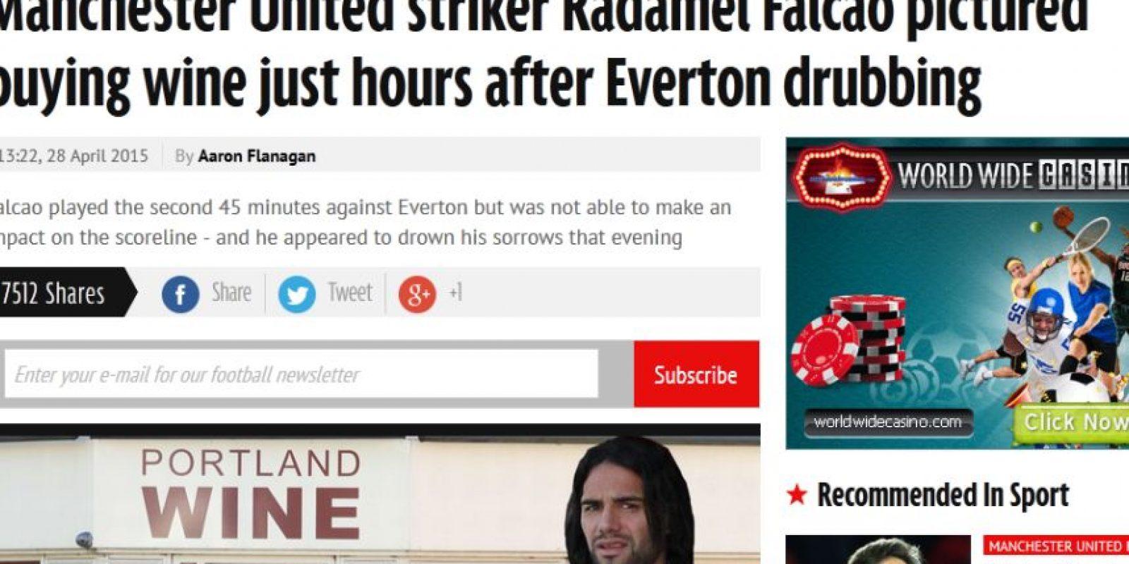La publicación que realizó el Daily Mirror sobre la compra de vino de Falcao Foto:Captura de pantalla mirror.co.uk