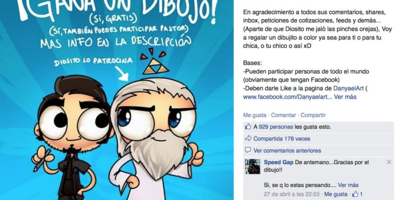 Ahora bien, ha recibido bastante apoyo e incluso hizo un dibujo para parodiar todo el asunto. Foto:vía Facebook/Luis Daniel Avendaño