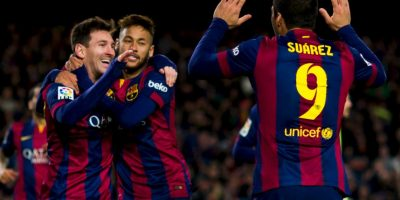 """La prensa española bautizó al ataque del Barcelona como """"MSN"""", por las iniciales de los nombres de sus integrantes: Messi, Neymar y Suárez. Foto:Getty Images"""