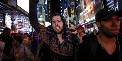 Durante la protesta se registraron disturbios dispersos. Foto:Getty Images