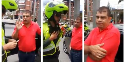 Policía le dio lección a conductor altanero. Foto:Tomada de Facebook