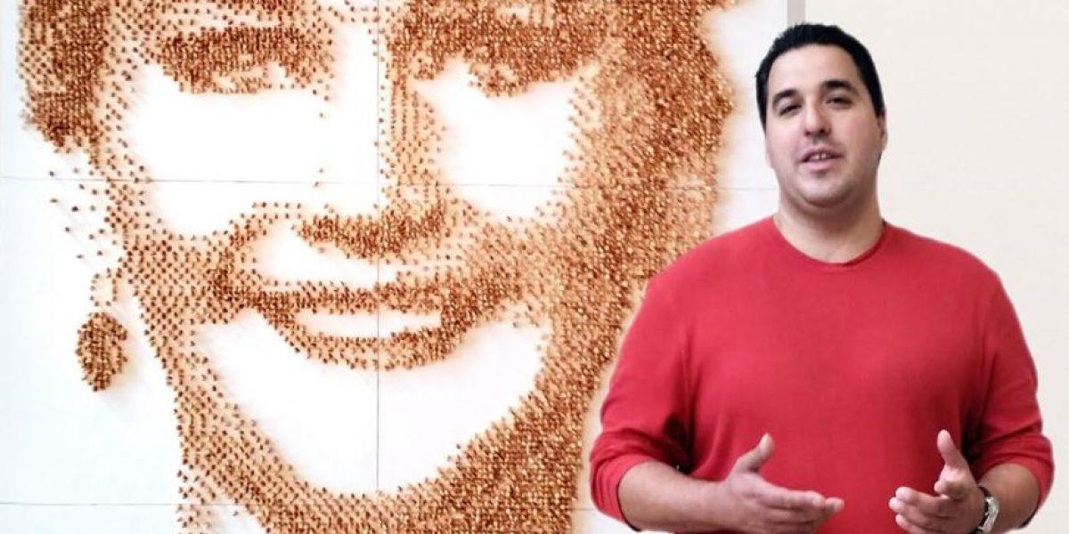 ¡Qué talento! Este colombiano hace retratos de famosos con maní