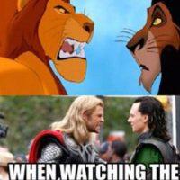 """""""Thor"""" y """"Loki"""" tienen ciertas similitudes con """"El Rey León"""". Foto:vía OkeyMeme"""