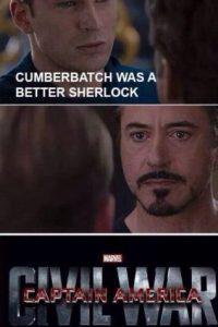 """Steve"" le dijo a ""Tony"" que Benedict Cumberbatch fue mejor ""Sherlock Holmes"" que Robert Downey Jr. (quien lo interpretó dos veces). Por eso se inició la ""Guerra Civil"". Foto:vía Facebook/Robert Downey Jr."