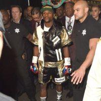 La primera vez que aparecieron juntos públicamente fue en la pelea de Mayweather contra Miguel Cotto en 2012 Foto:Getty Images