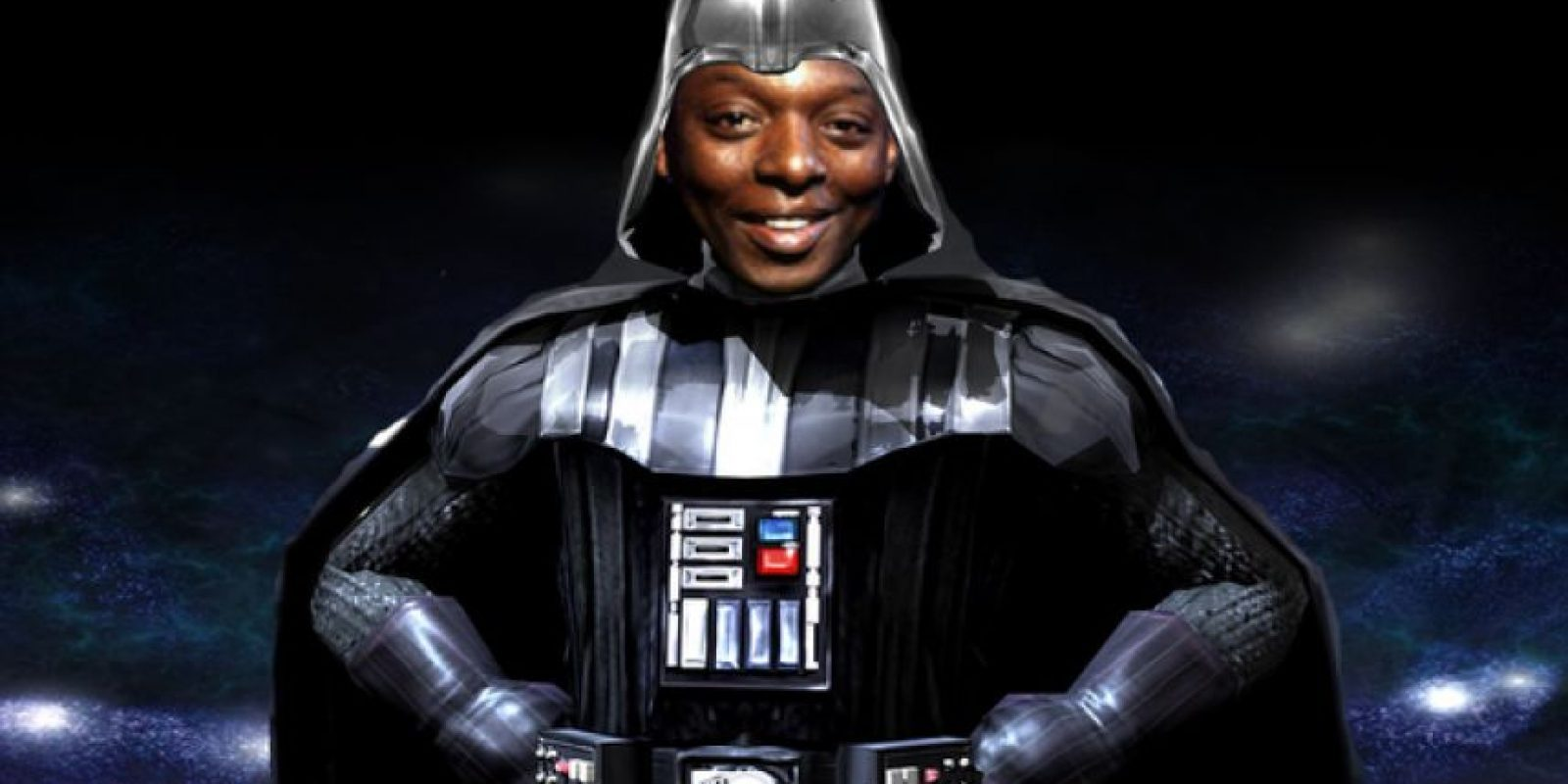 Garth Crooks, comentarista de la BBC, toma el papel de Darth Vader en la delantera. Foto:Tomada de mirror.co.uk