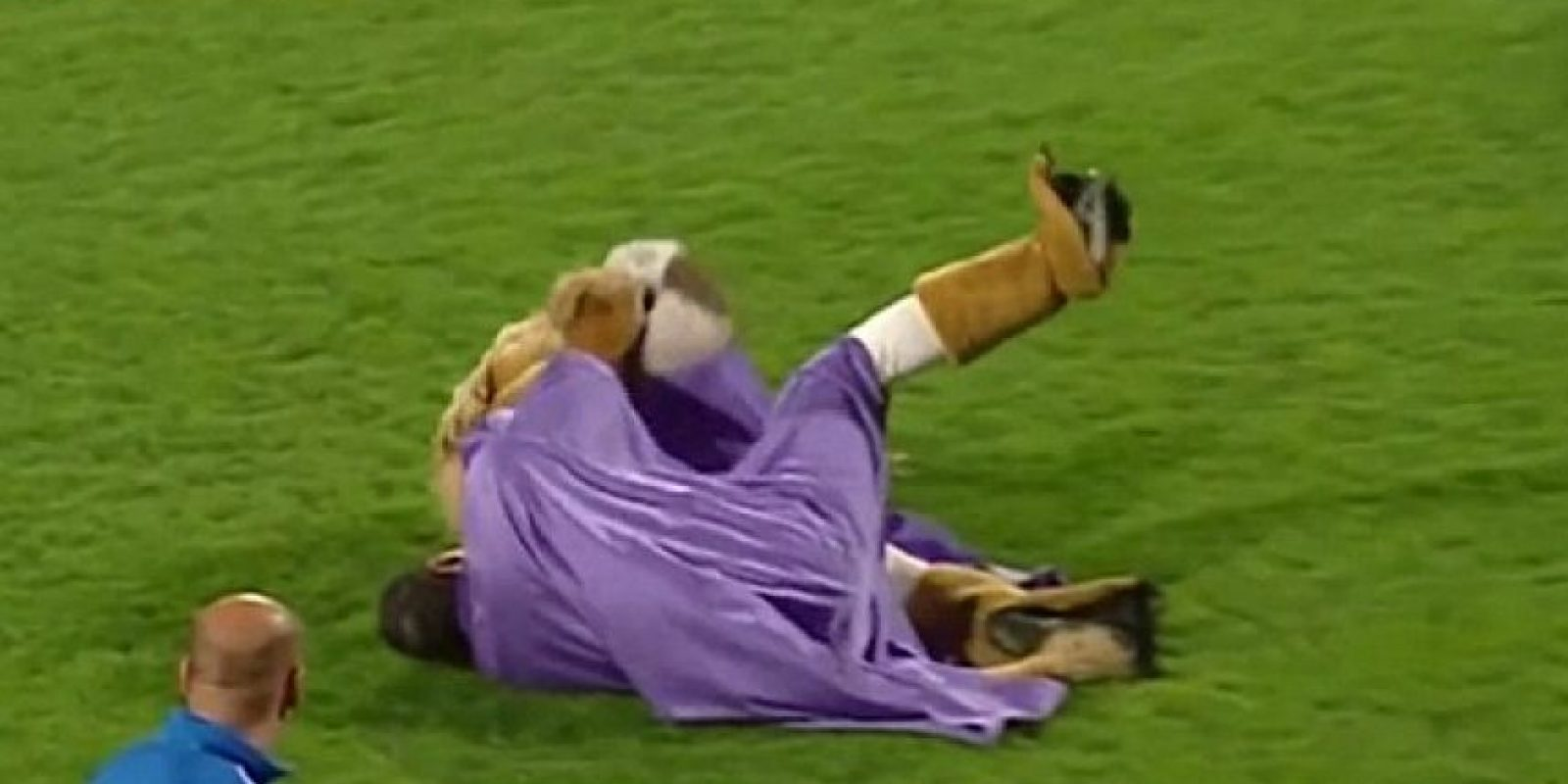 """Super Leo, la mascota del Austria Viena, se tomó """"su siesta"""" en plena cancha al final de un partido este fin de semana. Foto:Captura de pantalla streamable.com"""