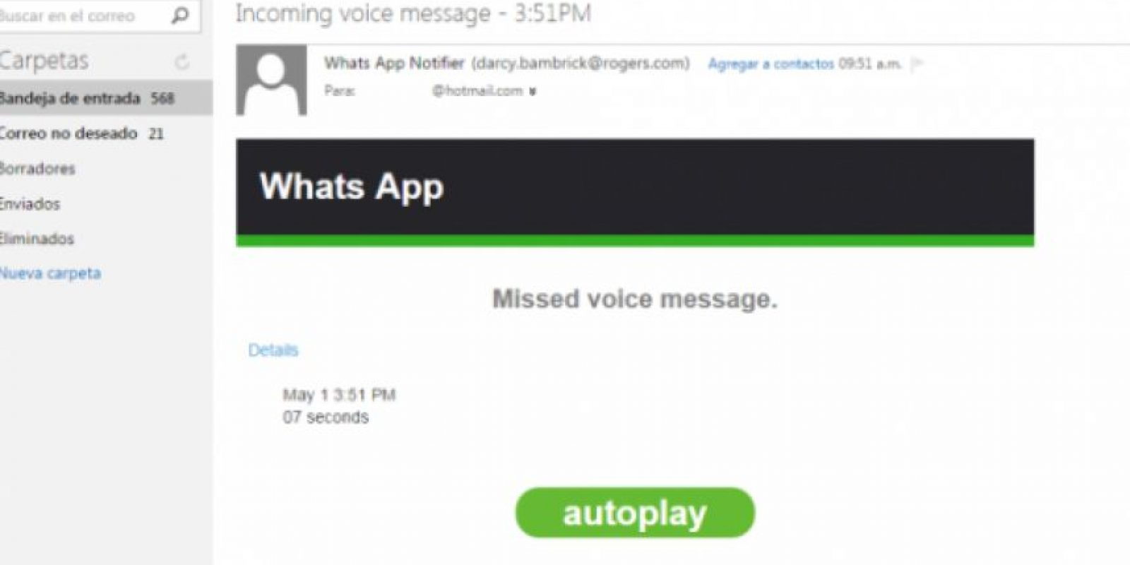 Así luce el correo electrónico falso que usa a WhatsApp como anzuelo para una estafa Foto:Redes Zone