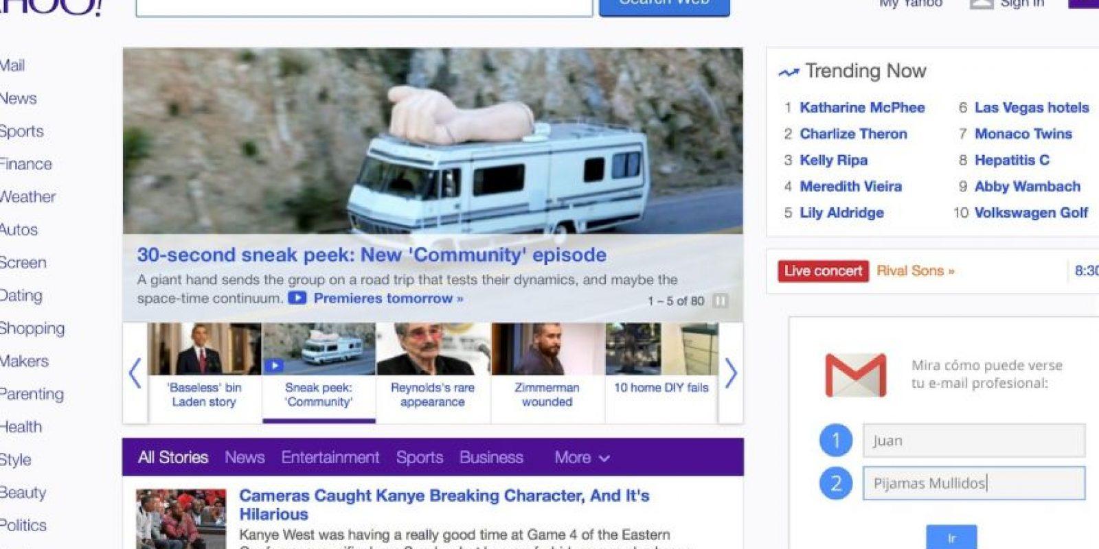 Así se ve Yahoo en la actualidad. Foto:Yahoo
