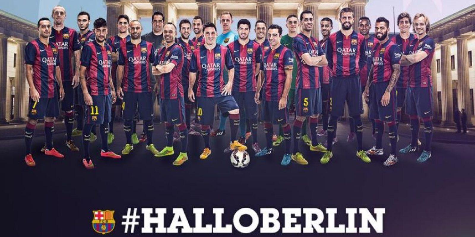 """""""Hola Berlín"""", fue la imagen que compartió el Barcelona en sus redes sociales al final del duelo en Munich. Foto:Vía twitter.com/fcbarcelona_es"""