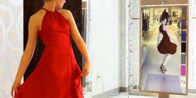 O pueden preguntarle al espejo si se vería mejor en otro color o con otros zapatos. Foto:Memomi Labs Inc