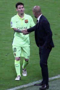 """""""Estoy feliz de que Messi vuelva a estar ahí. Es increíble"""", dijo Pep tras el duelo. Foto:Getty Images"""