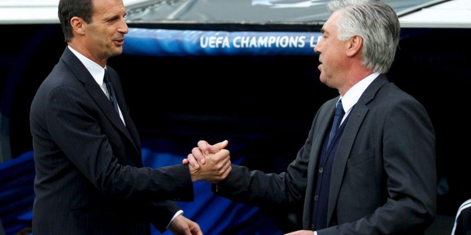 Massimiliano Allegri y Carlo Ancelotti, entrenadores de Juventus y Real Madrid, se saludaron previo al comienzo del duelo. Foto:Getty Images