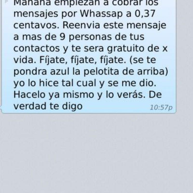 Mito: WhatsApp no será gratuito si no pasan el mensaje a sus contactos. Foto:Tumblr