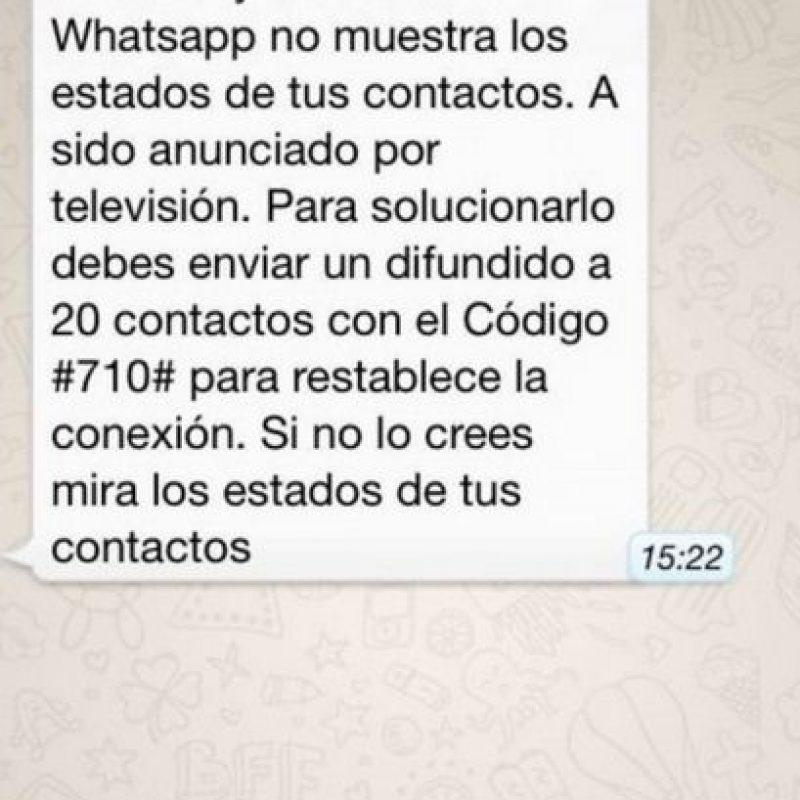Mito: Si no comparten el mensaje, WhatsApp no mostrará los estados de sus contactos. Foto:Tumblr