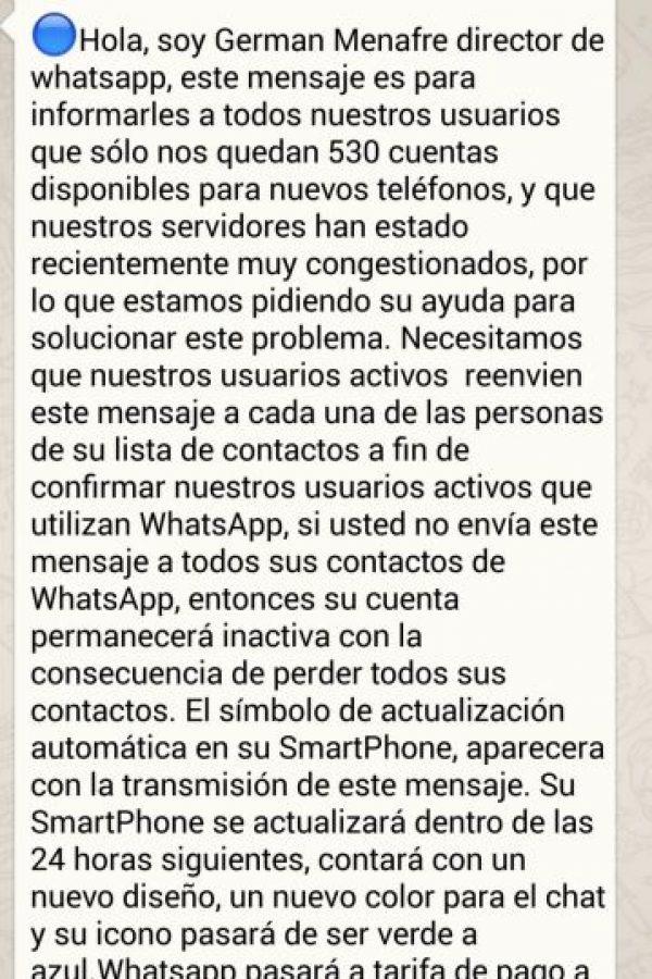 Mito: Si no envían el mensaje, WhatsApp los eliminará de su app. Foto:Tumblr