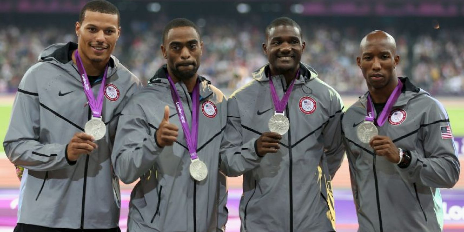 Estados Unidos ganó la medalla de plata en relevos 4×100 en los Juegos Olímpicos de Londres 2012. Foto:Getty Images